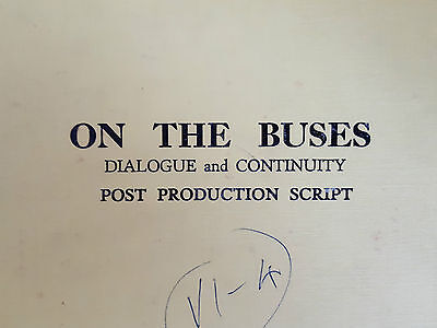 Original ON THE BUSES 1971 Post Production FILM / MOVIE SCRIPT Classic Comedy