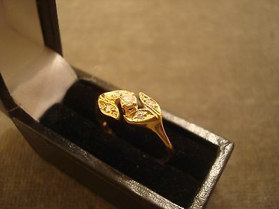 LADIES .750 18CT YELLOW GOLD DIAMOND RING 2.1g SIZE N BOXED REF 7820