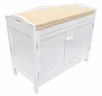 Assembled White Kid Bedroom Hallway Plain Padded Seat Stool Bench Shoe Rack Unit • £49.99