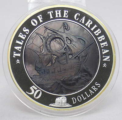 2008 Cook Islands $50 Tales of Caribbean Mother of Pearl 5 Oz .999 Silver Coin