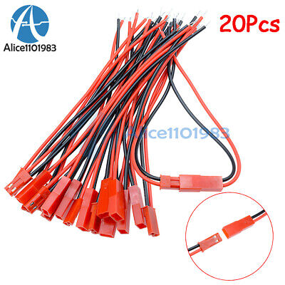 20 Pairs 100mm JST Connector Plug Cable Line Male+Female for RC BEC Lipo Battery