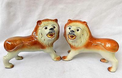 "A RARE Pair of LARGE 19th Century Staffordshire ""Smiling Lions"" w/Glass Eyes!"