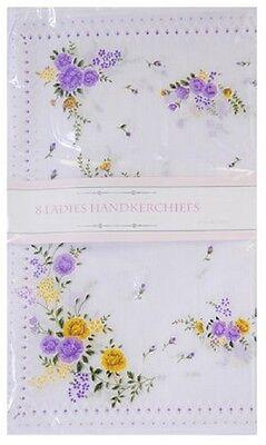Ladies Floral Design Poly Cotton Value Pack of 8 Hankies Handkerchiefs Gift Xma