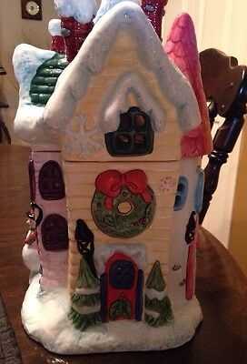 """CHRISTMAS WINTER WHIMSY HOUSE COOKIE JAR By Elements Ceramic 13"""" x 8.5"""" NIB"""