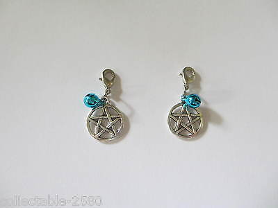 Pagan Wicca Pentacle & Blue Bell Collar / Lead Celtic Charm for Pet Cat Or Dog