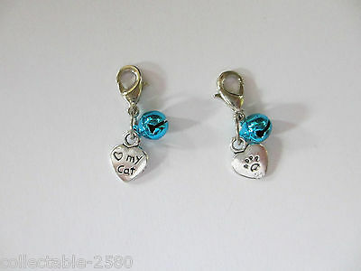 Double Sided Clip on Love My Cat Heart Blue Bell Collar Pet Boy Male Cat Charm