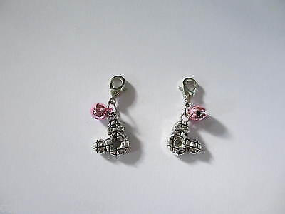 Cute Clip on Minnie Mouse & Pink Bell Collar / Lead Charm for Pet Cat or Dog