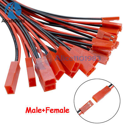 10Pairs 100mm JST Connector Plug Cable Line Male+Female for RC BEC Lipo Battery