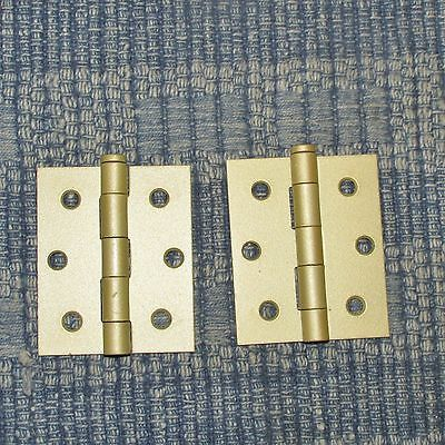 Pair of Gold Finished Door Hinges, 3 by 2 1/2 Inches