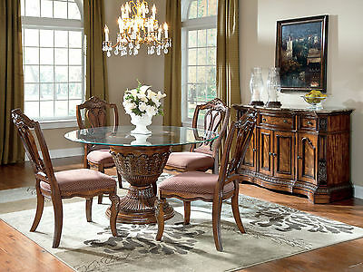 CHATEAU - 5pcs Traditional Round Pedestal Dining Room Table Chairs Set Furniture
