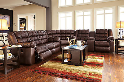 METRO - 3pcs Brown Bonded Leather Recliner Sofa Couch Sectional Set Living Room