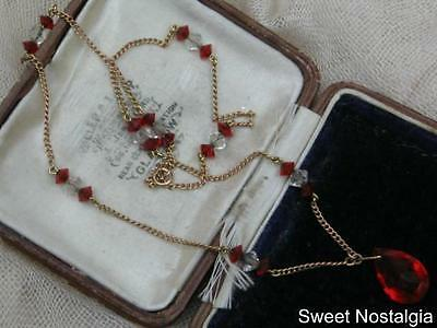 Beautiful Vintage Edwardian 9Ct Gold Ruby Red And White Cut Glass Drop Necklace