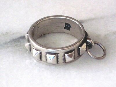 Sterling Silver NOS Sterling Silver 925 Spiked DOG COLLAR Ring or Pendant signed