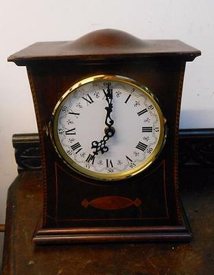 old mahogany inlaid mantel clock now with battery movement
