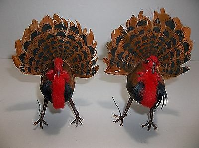 Vintage TURKEY Christmas Ornament REAL FEATHERS Poseable Set Of 2