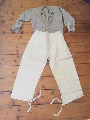 Antique Ww1 Vintage  Handmade Mens Flax Linen Peasant Pants Shirt