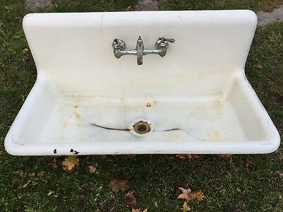 Antique Standard Sanitary Sink Highback Rolled Lip Vintage Cast Iron Sink 1909