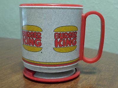 Vintage Burger King Plastic Travel Coffee Mug Cup W/Base by Whirley