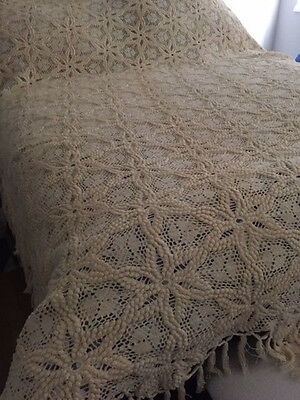 Vintage Expertly Hand Crocheted Flower Snowflake Pattern w/Fringe Bedspread