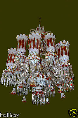 Magnificent giant   12 arms Victorian Bohemian cut to clear glass chandelier