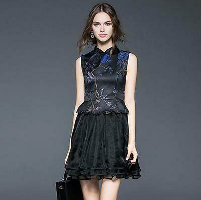 Elegant Short Embroidery Women Dress Cheongsam Knee Length Prom Party Lady Gowns