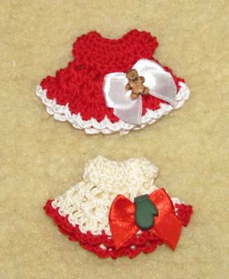"2 Crochet Dresses fits Tiny 2.5"" OOAK Polymer, Silicone Babies #637"