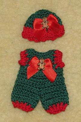 "Crochet Romper & Hat fits 3.5"" OOAK Polymer Clay, Silicone Babies #640"