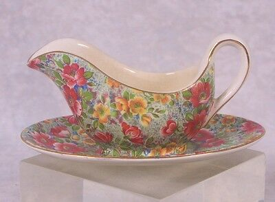 Lord Nelson Ware BRIAR ROSE Floral Chintz Individual Gravy/Sauce Boat Underplate