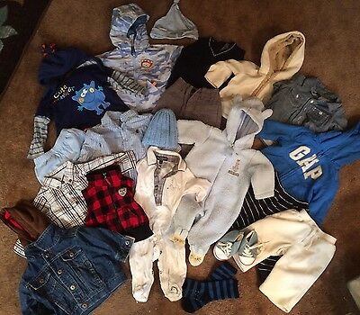 HUGE Baby Boy Winter Clothes Lot 0-3 3 3-6 MIX & MATCHING Outfits GAP GYMBOREE