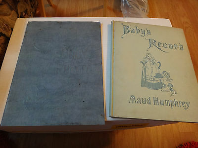 2 Vintage Baby's Record Books 1921 w/ Advertising & Maud Humphrey copyright 1898