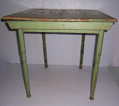 Antique Vintage Child's Green Painted Wooden Folding Table Great Country Decor