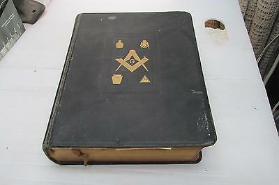 Free Mason Grand Master Bible with Birth Death/Marriage Records Coat Of Arms,Pic