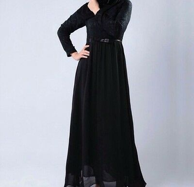 Abaya, Jilbab, Islamic, Dress, Long, Black, Pink