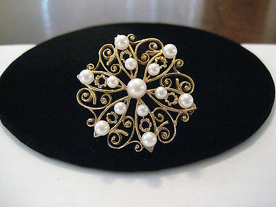 Vintage Hand Made 14k Yellow Gold Pearl Pin Brooch