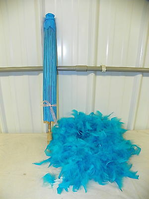 Wedding Bridal Shower Photo Prop TURQUOISE SATIN Umbrella Parasol & 6' Boa    vl