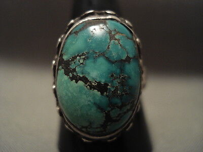 Important Vintage Navajo Apache Turquoise Silver Ring Old