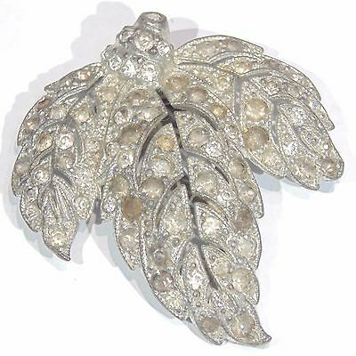 Vintage 1920s-1930s rhinestone leaf shaped dress clip signed R silver tone