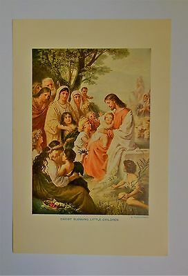 "Vintage 1940's ""christ Blessing The Little Children "" Art Print"