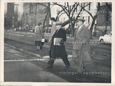 1948 President Harry Truman Secret Service Men Walking Street DC Press Photo