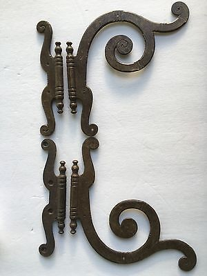 "Large Ornate Swirl Pair of Decorative Faux Hinges Antiqued Brass 7"" Tall Unique"