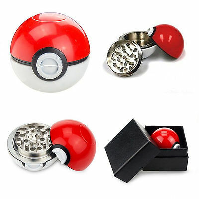 55mm Pokeball Spice Herb Grinder Pokemon Go Tobacco Grinder Free Gift Box