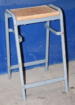 ~Old ~Shabby ~School ~Lab Stool ~ Steel Frame ~ Timber Seat ~