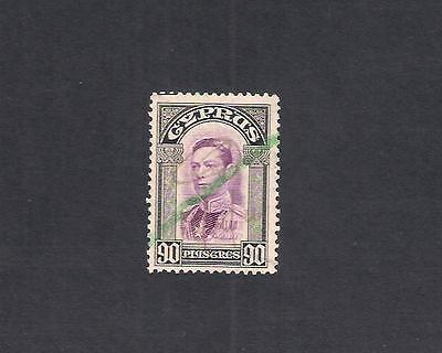 CYPRUS 1938 KG VI 90pi SG 162  USED AS REVENUE FISCAL  DUTY STAMP