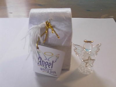 White Glass Worry Angel In Beautiful White Box With Poem