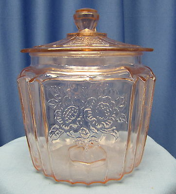 Pink Depression Mayfair Open Rose Pink Cookie / Biscuit Jar Circa:1930's