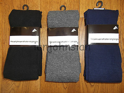 3 Pairs Of Girls School Tights Grey Black Navy Tights Cotton Rich Girls Tights