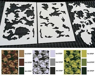 Set of 2pcs Camouflage Airbrush Stencils Army Tank Gun Decoration Mylar Reusable