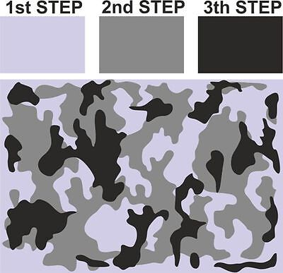 #M CAMOUFLAGE Camo Pattern Airbrush Stencil Vehicle Bike Army Tank Arm Arming