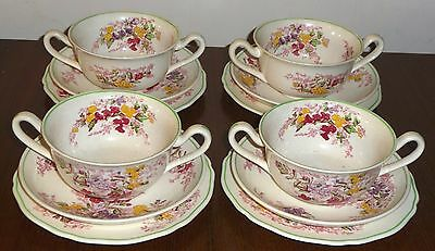 """Copeland Spode """"Fairy Dell"""" 4 soup coupes, saucers, side plates trios,1 cup a/f"""