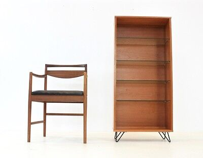 VINTAGE 1970s TEAK & GLASS BOOKCASE/DISPLAY STAND & HAIRPIN LEGS